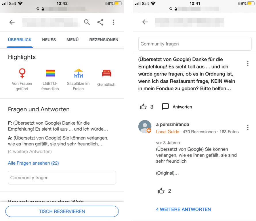 Google Fragen und Antworten