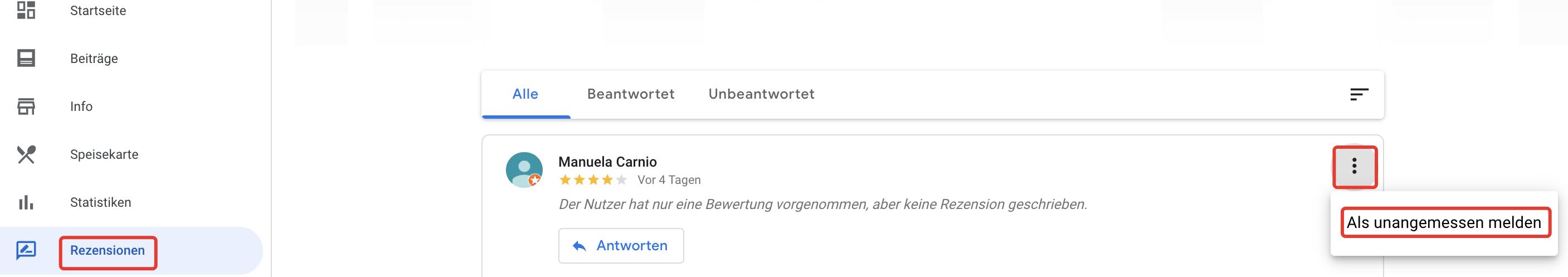 Screenshot Google Bewertung Löschen