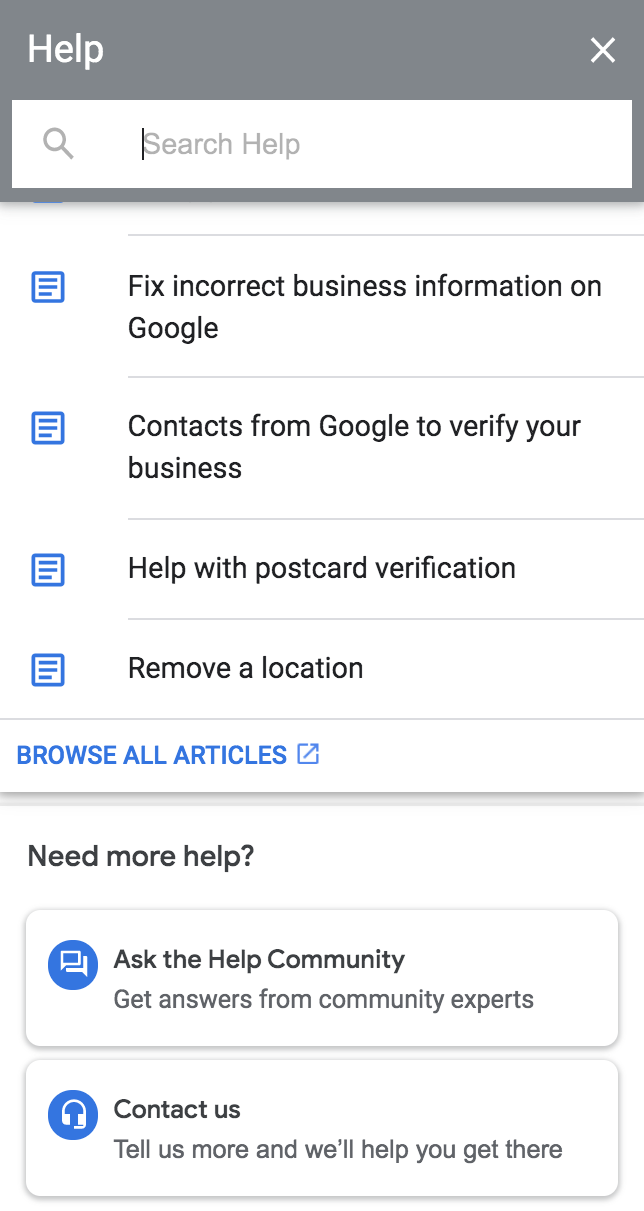 Screenshot Google My Business Contact Form