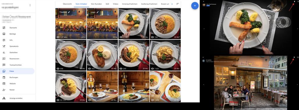 Google My Business Fotos Bearbeitungsübersicht