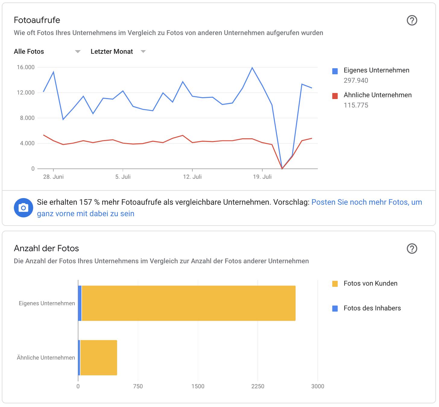 Grafik Google My Business Fotos Performance