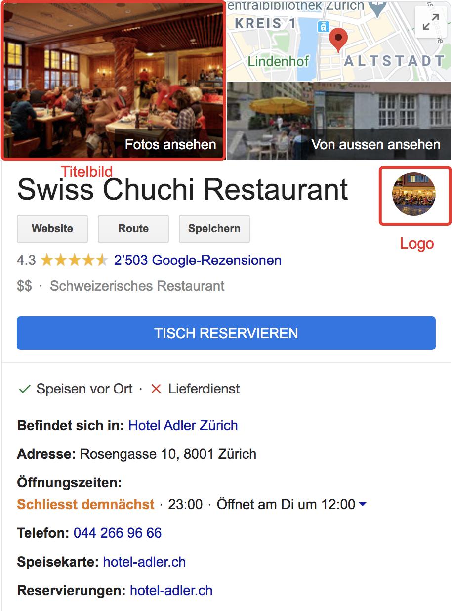 Screenshot Google My Business Restaurant Desktop